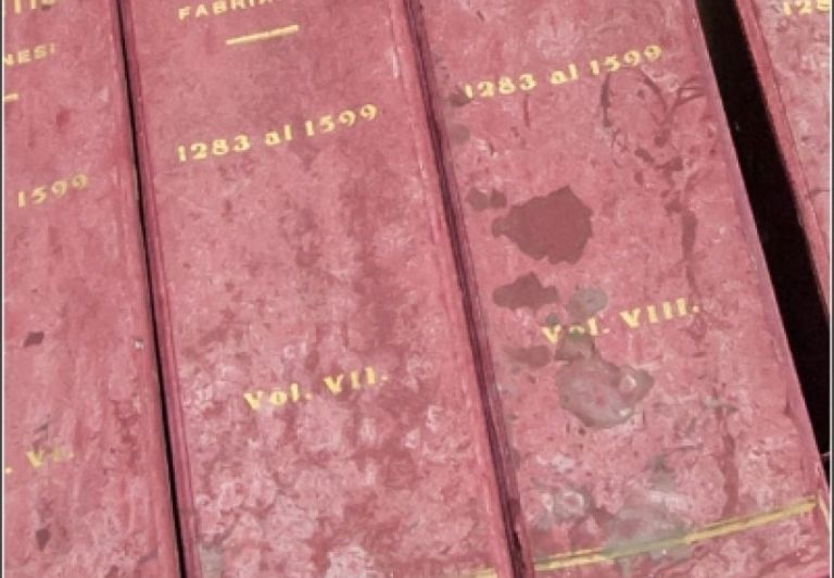 The 10 large archival cases containing the 198 folders of old paper since XIII century
